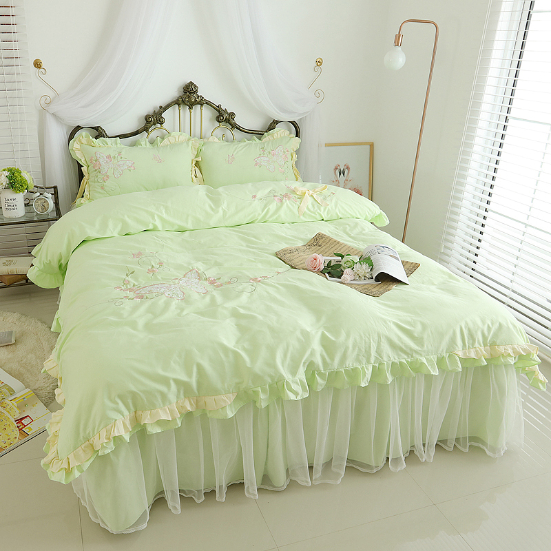 Image 2 - Korean Embroidery Lace Home Textile Bedding Set Luxury 4pcs Princess Ruffle Duvet Cover Elegant Bedspread Bed Skirt 100 Cottonbedding set luxurybedding setlace bedding sets -