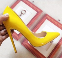Women's Pump Fashion High Heels Shoes Yellow Shoes Women's Bride Wedding Shoes Ladies