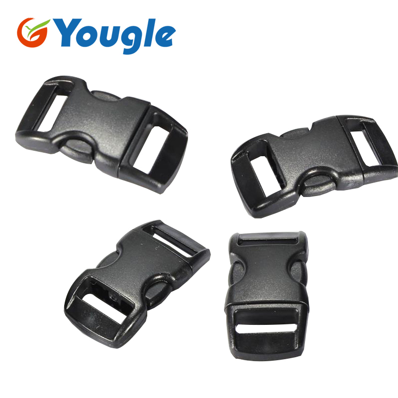 YOUGLE 100 pcs 3/8 Contoured Curved Side Release Plastic Buckle for Paracord Bracelet FREE SHIPPING stainless steel u shaped adjustable 4 hole shackle buckle for paracord bracelet silver 6 pcs