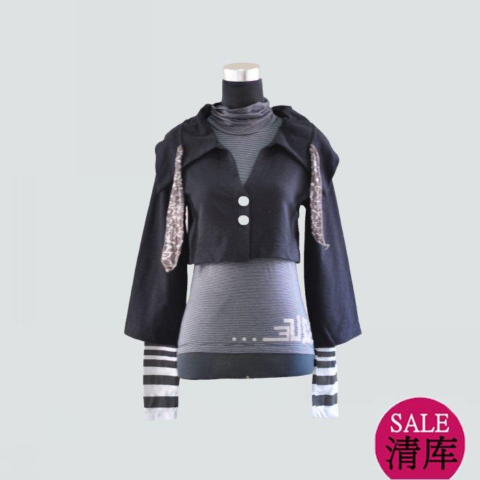 Fashion cop copine spring and autumn t-shirt fleece short jacket twinset 066677