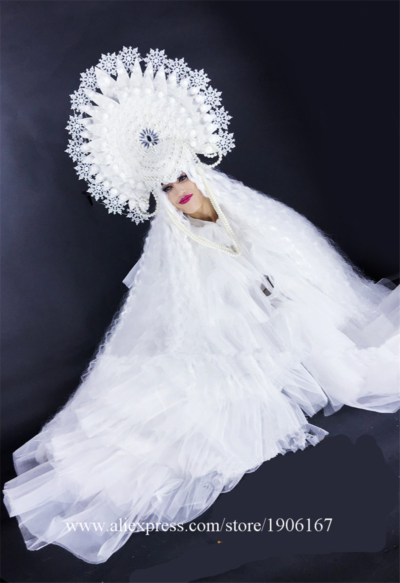 White ladies DS Ice Queen Christmas party costumes3