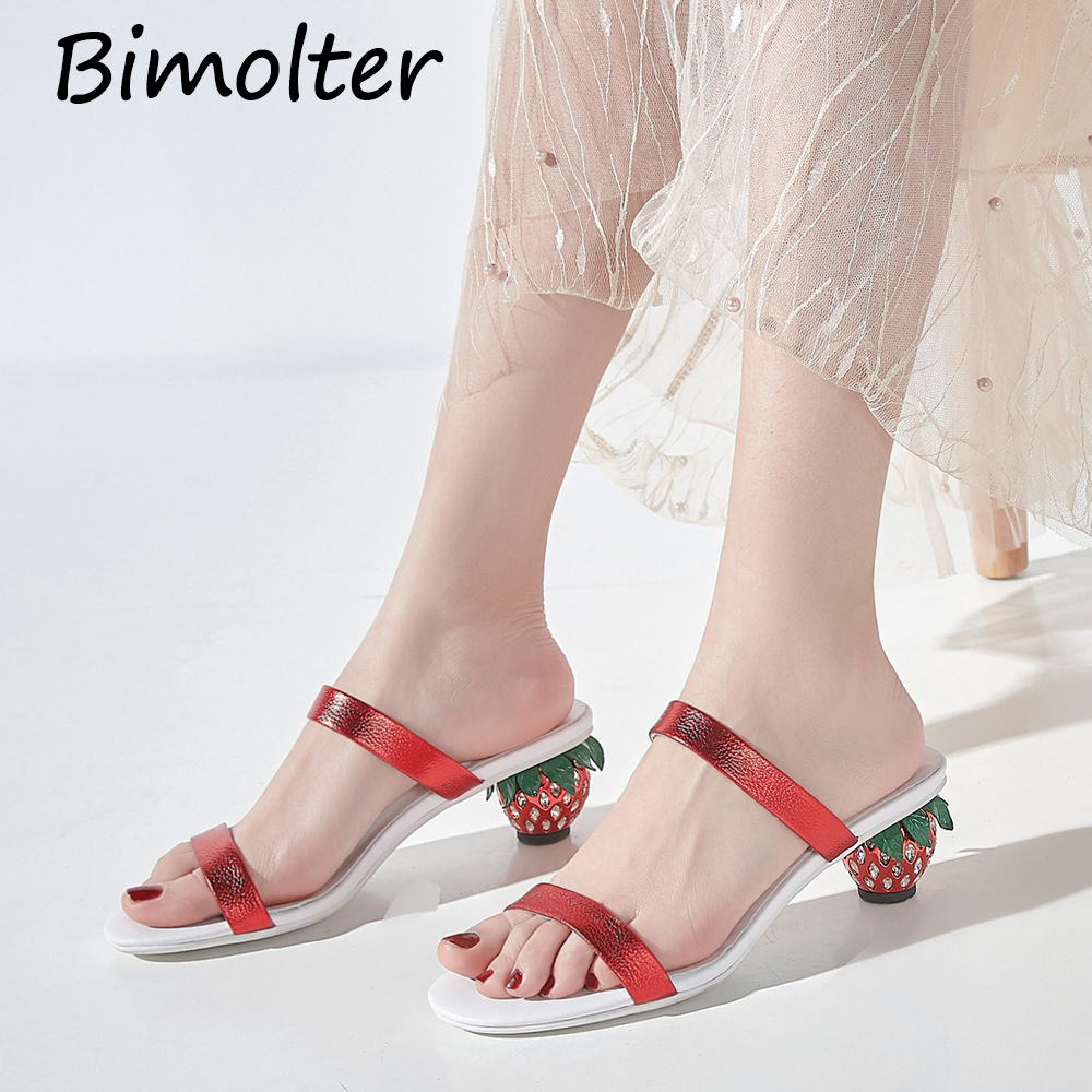 Bimolter Strawberry Heel Slippers Leather Women Shoes Summer New Fashion Simple Outdoor Slipper Open Toe Fairy Shoes Female C124Bimolter Strawberry Heel Slippers Leather Women Shoes Summer New Fashion Simple Outdoor Slipper Open Toe Fairy Shoes Female C124
