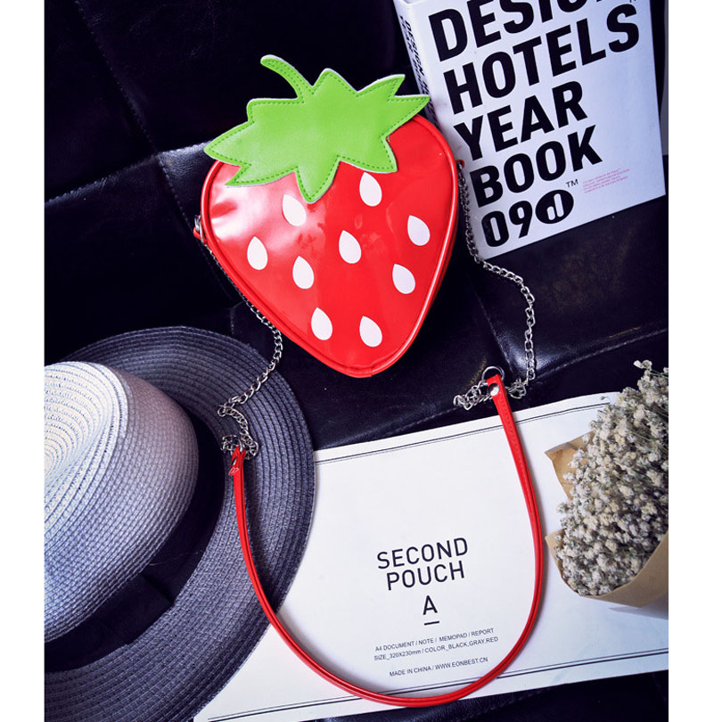 Women PU Leather Shoulder Bags Triangle Strawberry Shape Character Crossbody Bag Female Chains High-capacity Purse Ipod Case New