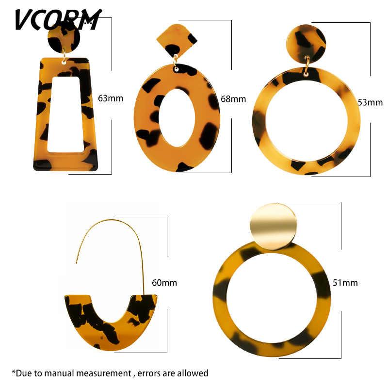 VCORM New Korean Big Acrylic Drop Earrings for Women 2019 Jewelry Fashion Resin Leopard Dangle Earrings Bohemian Preferred Gift.