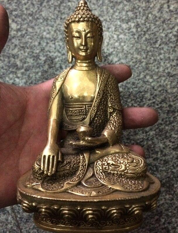 중국 골동품 황동 Amitab 부처님 동상 가족 장식품 장식 구리 공예 및 선물 용품