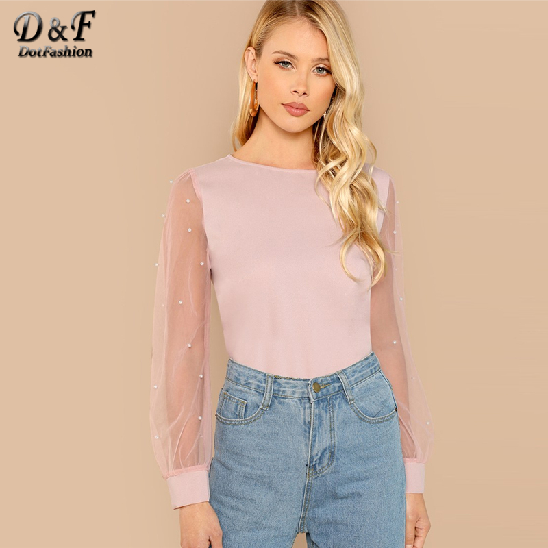 Dotfashion Pink Pearl Beaded Mesh Sleeve   Blouse     Shirt   Women Elegant Autumn Plain Round Neck Long Sleeve Clothing Pullovers Top