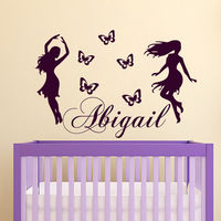 Wall Decals Personalized Name Decal Vinyl Sticker Butterfly Girl Bedroom
