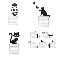 Cute Funny Cat Animal Switch Stickers Home Decoration Wall Stickers For Children Bedroom Living Room Art Parlor Decoration cute pandas tree pattern wall stickers for children s bedroom decoration