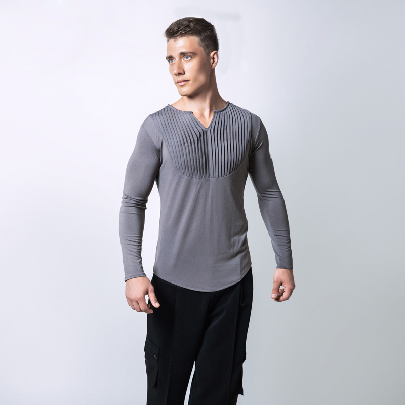 High Quality Men Ballroom Latin Competition Dance Tops Cha Cha Rumba Not Including Pants Long Sleeves Stage Dancing Wear ...