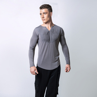 High Quality Men Ballroom Latin Competition Dance Tops Cha Cha Rumba Not Including Pants Long Sleeves Stage Dancing Wear