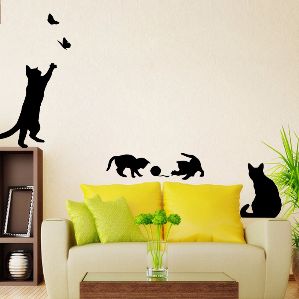 Lovely cat under the street light 4 cute cats play vinyl wall stickers DIY home decoration Cartoon wall stickers for kids room