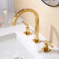 Basin Faucets Bathroom Sink Faucet Black/Gold Brass 3 Holes Double Handle Luxury Hot and Cold Mixer Water Bathbasin Bathtub Taps