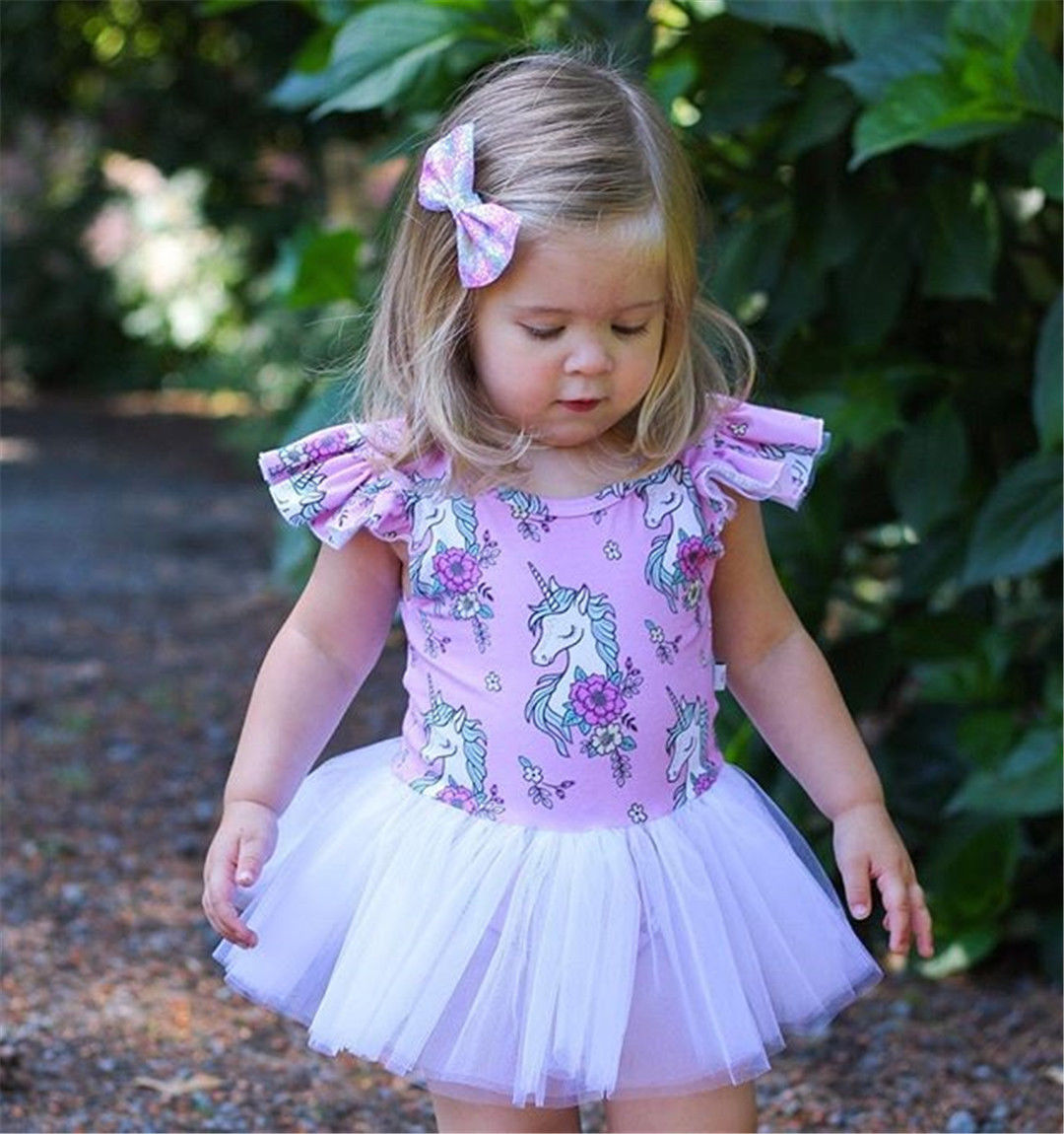 2018 New Princess Baby Girls Unicorn Romper Cute Cartoon Print Tulle Tutu Romper For Girls Party Birthday Costumes Jumpsuit цены онлайн