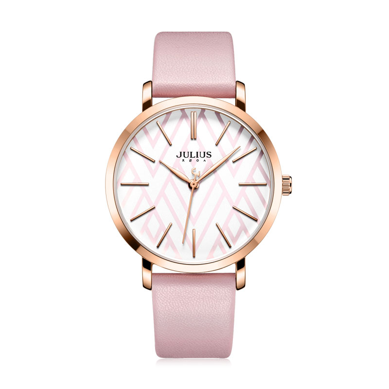 Julius Watch Large Dial Geometric Design New Watch 2018 Winter Women s Watch Leather Band Luxury