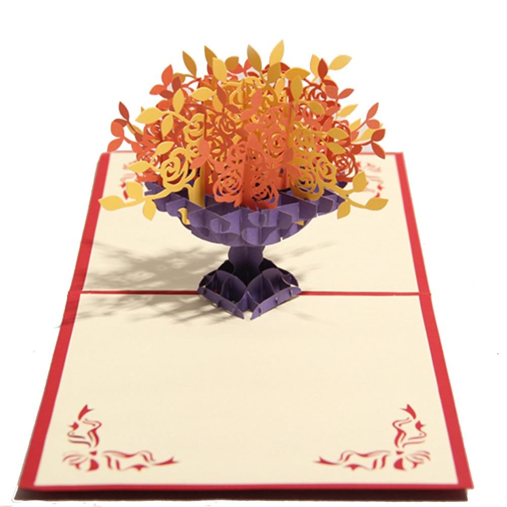 Many Rose Handmade Creative Kirigami Origami 3d Pop Up Greeting
