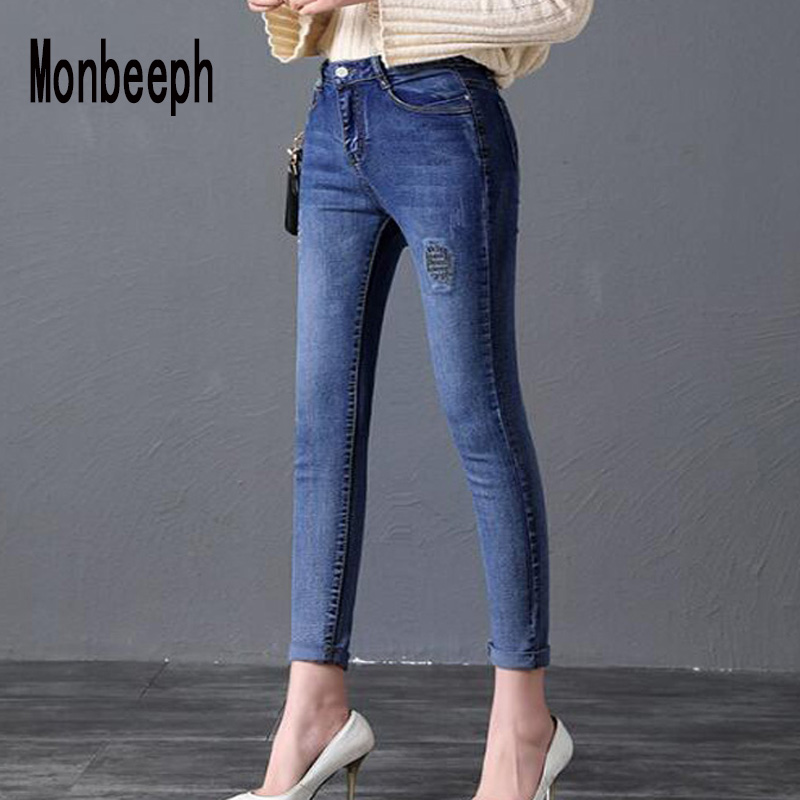 Monbeeph Embroidery Jeans Pants Skinny Ripped Denim High-Waist Plue-Size Women with Brand