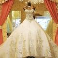 100 bienes elegante princesa boda vestido de Organza 2015 vestidos de novia robe de mariage boda vestidos con cuentas con tren Real