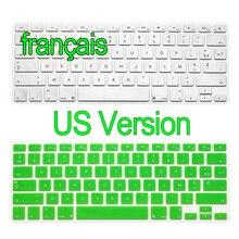 """Американская версия французские наклейки на клавиатуру retina Air Pro 13 15 17 дюймов градиент евро макет силиконовая крышка клавиатуры для MacBook 13"""""""