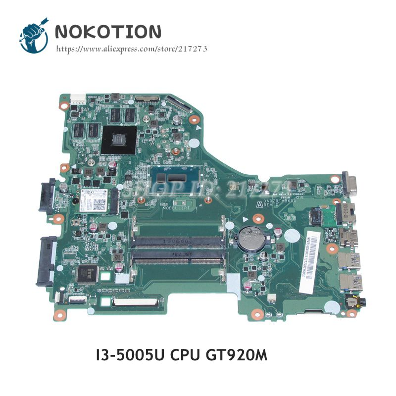 NOKOTION For Acer aspire E5-573 V3-574G Laptop Motherboard DA0ZRTMB6D0 N9VB5WW001 MAIN BOARD I3-5005U CPU GT920M Video card nokotion da0zrtmb6b0 n9mvrww001 n9 mvrww 001 for acer aspire e5 573 e5 573g laptop motherboard i3 5005u hd5500 940m
