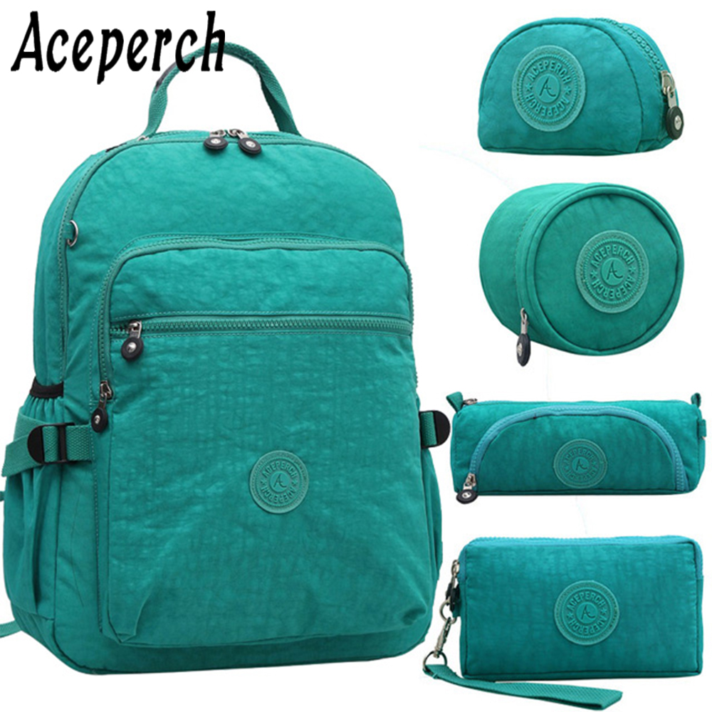 Aceperch Women Kiple Multifunction School Waterproof Nylon Backpack Mochila Escolar Travel Bag Rucksack Trekking Large Capacity