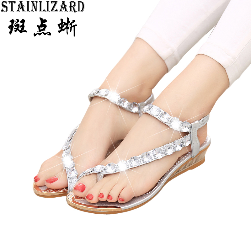 Hot Sale New Summer Fashion Woman Sandals Casual Bohemia Flat Sandals Diamond Wild 2016 Roman Ladies Shoes Silver Gold ST21 free shipping 2016 summer diamond woman sandals casual flat thong flip flops fashion beads wild sandals white black st338