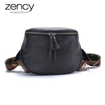 Zency 100% Echt Kuh Leder Hangbag Retro Frauen Umhängetasche Schwarz Crossbody Geldbörse Trommel Form Kleine Sattel Taschen Weibliche Schulter