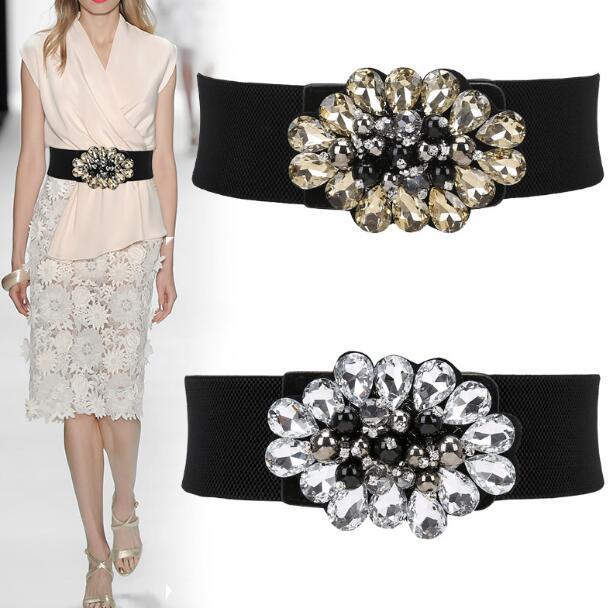 Women's Runway Fashion Elastic Diamonds Beaded Cummerbunds Female Dress Corsets Waistband Belts Decoration Wide Belt R1154