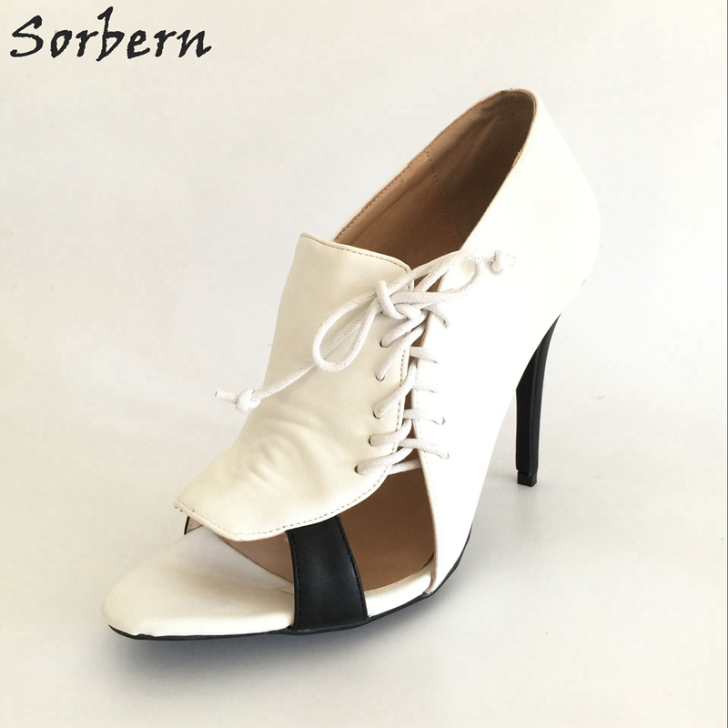 Sorbern Large Size White Women Pumps EU34-46 High Heels Shoes Ladies Open Toe Custom Color Chaussure Femme Shoes New shoesofdream women s leisure 2015 opened pointed toe zip casual gladiator summer large size high heels eu size 34 46