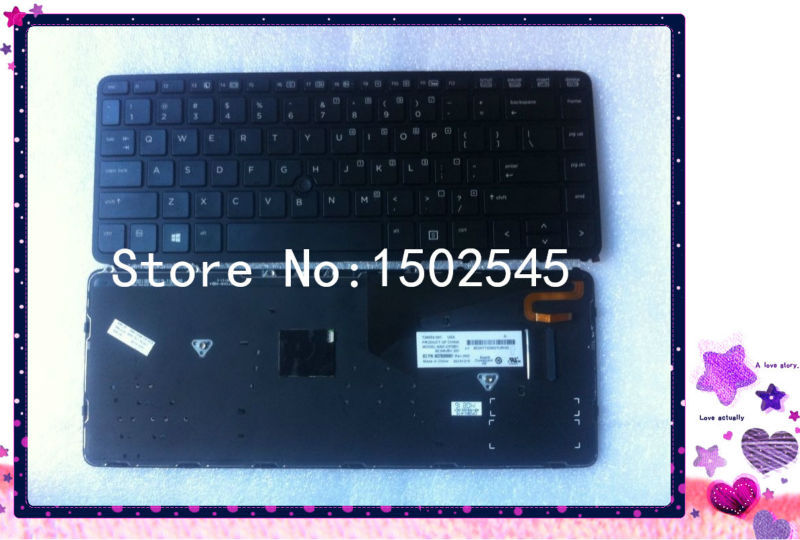1pc US Black Laptop Keyboards for HP EliteBook 840 G1 850 G1 Backlit Keyboard with Frame 736654-001