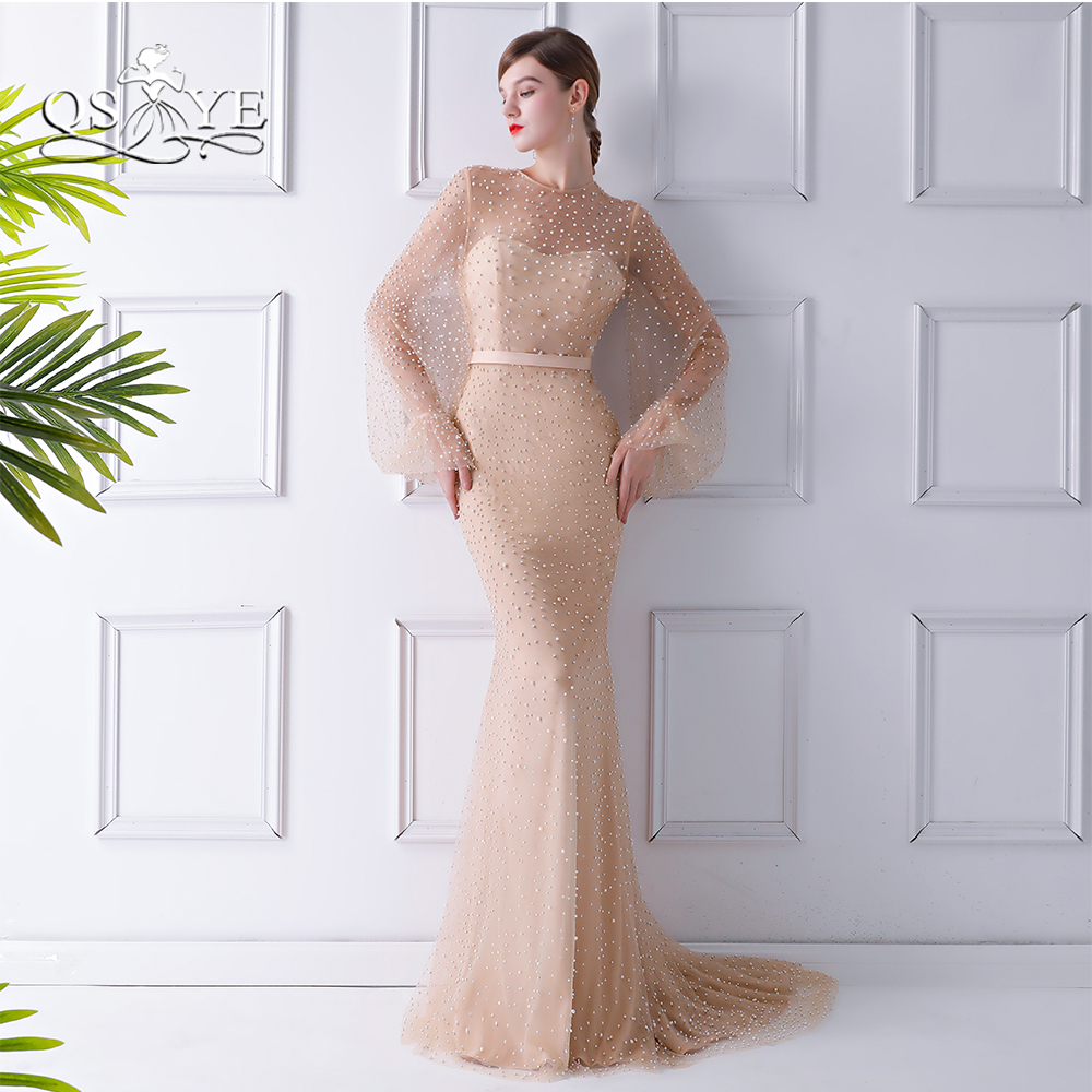 QSYYE 2018 New Formal Evening Dresses Sexy Full Pearls Mermaid Long Sleeves Sweep Train Women Party Dress Long Prom Gown