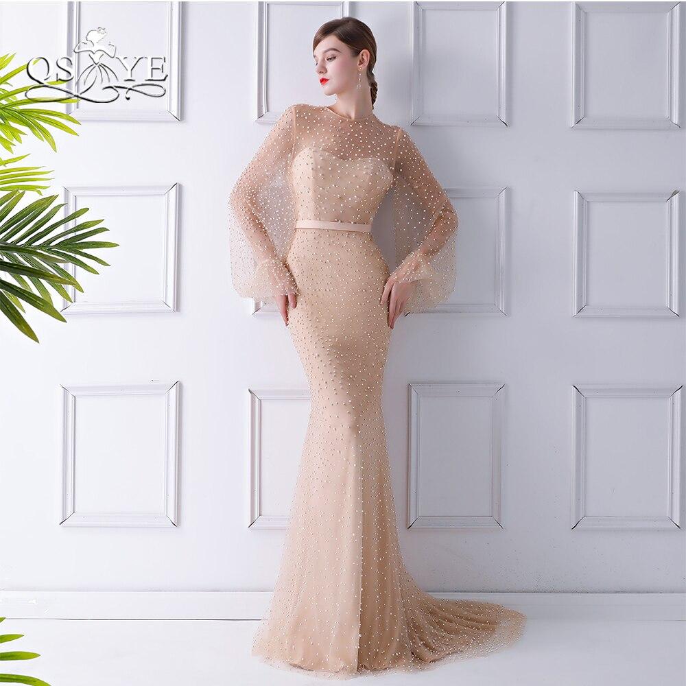 QSYYE 2018 nouvelles robes de soirée formelles Sexy perles complètes sirène manches longues balayage Train femmes robe de soirée longue robe de bal