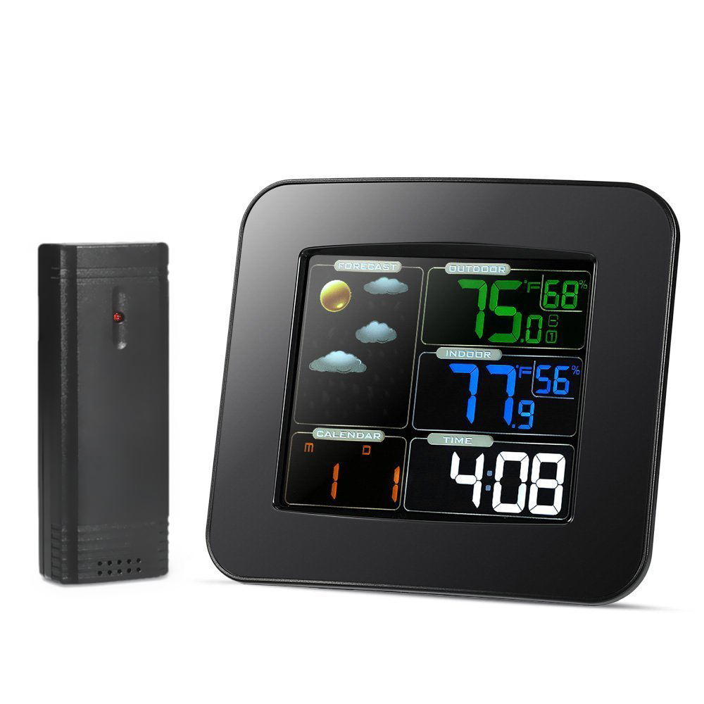 LCD Digital Thermometer In/Outdoor Temperature Meter Humidity Meter Wireless Weather Station Alarm Clock Weather Forecast Meter недорго, оригинальная цена