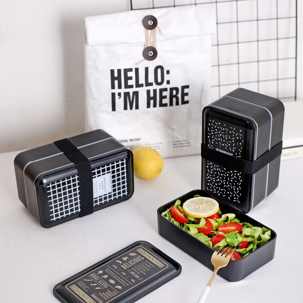 US $16 9 |High Quality Simplicity Bento Lunch box School Student Lunch Boxs  Modern Picnic Food Container Microwave-in Lunch Boxes from Home & Garden