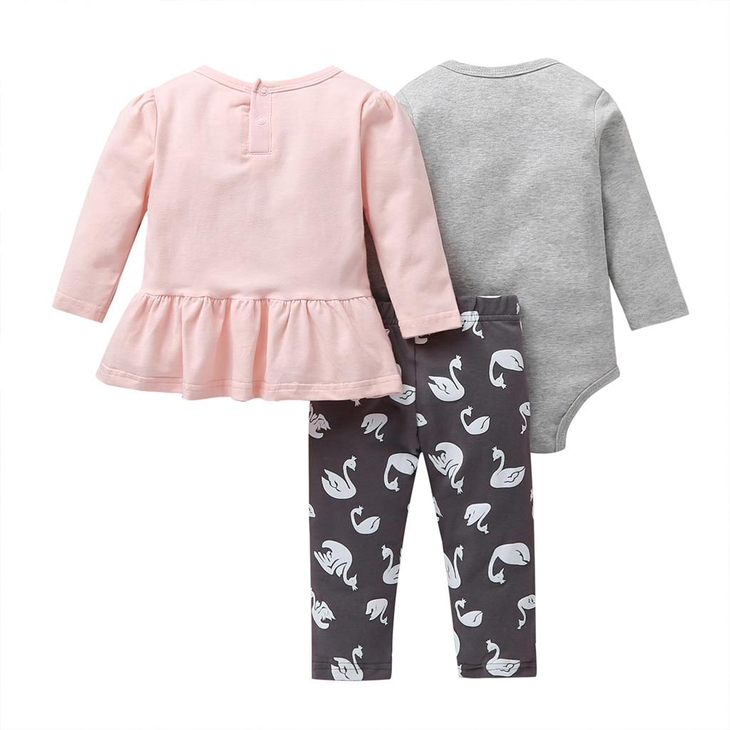 Image 2 - Осенняя одежда для маленьких девочек розовая футболка платье + комбинезон + штаны комплект одежды с длинными рукавами для новорожденных, 2020 г. Одежда для новорожденных с лебедемКомплекты одежды   -