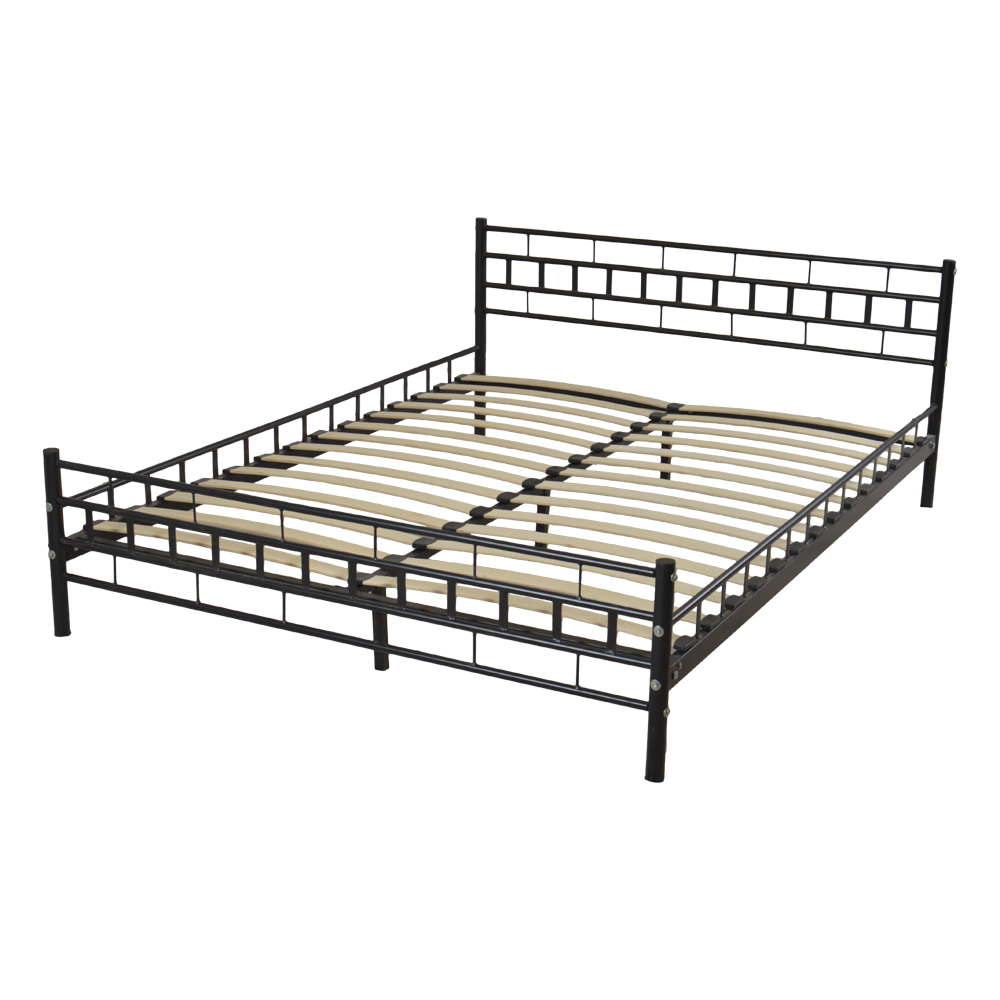 Queen Size Bed Frame Wooden Bed Slat and Metal Iron Unique Bed Frame L210 * W160 * H76.2CM