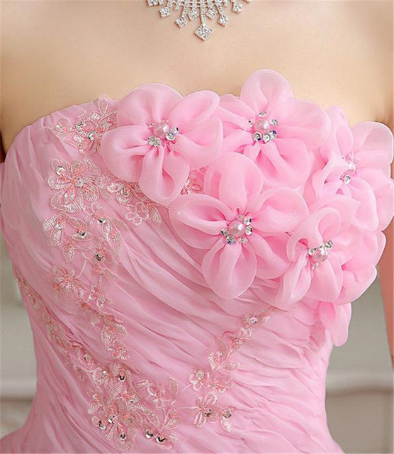 Real Photo vestido de noiva de 2017 New Koreal Style Flowers Strapless Pink Red Princess bridal Wedding Dress Lace Up Ball Gown 3