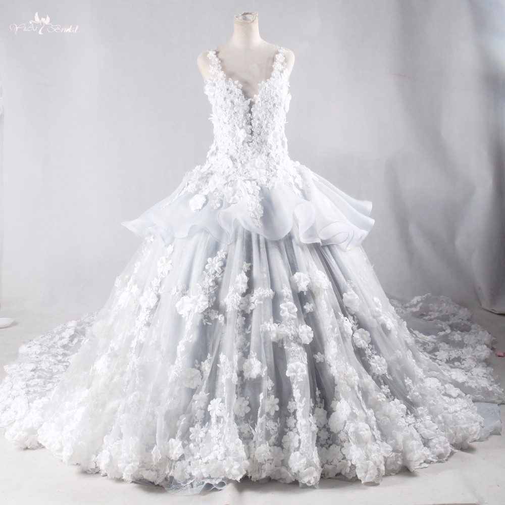 RSW959 Luxury Decorative Flowers Floral For Long Tail White And Silver Backless Alibaba Lace Wedding Dresses 2016 (5)