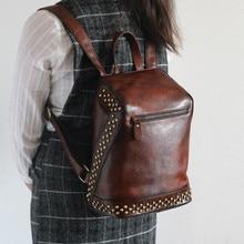 2017 frauen 100% Echtes Pflanzlich Gegerbtem Leder Rucksäcke Frauen Echtes Leder Vintage Rucksack Weiblichen Mode Niet Rucksack