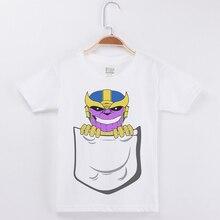 Baby Boy Tops Children T Shirts Fille Wholesale 100% Cotton Interesting Pocket Thanos Kids Tshirt Child Clothes Summer Tee 2-12T