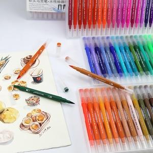 Image 1 - 100 шт. Цветная кисть для тонкого лайнера, кисть с двойным наконечником, ручки для рисования маркером, акварельные ручки для рисования манги, искусство