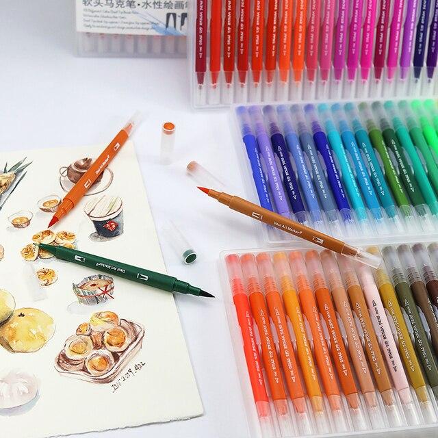 100 шт. Цветная кисть для тонкого лайнера, кисть с двойным наконечником, ручки для рисования маркером, акварельные ручки для рисования манги, искусство