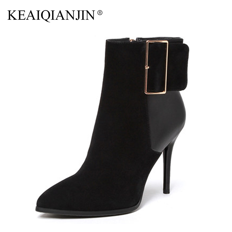 KEAIQIANJIN Woman Pointed Toe Ankle Boots Black Plus Size 33 - 43 High Heel Boots Autumn Winter Shoes Genuine Leather Boots 2017 autumn winter cool fashion black leather and suede spike heel short boots charming woman pointed toe ankle boots concise design