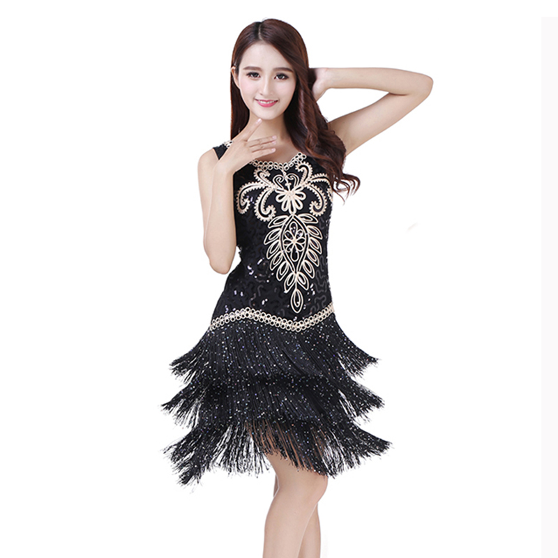 2018 Women Competition Dance Clothes Sequins Costume Set Fringe Salsa Dresses Latin Ballroom Dance Dress Embroidery