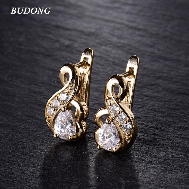 Nieuwe kleine oorringen voor dames Zilver / goudkleur 3 kleuren Oorringen Wit kristal CZ Earing Fashion Snake sieraden E194