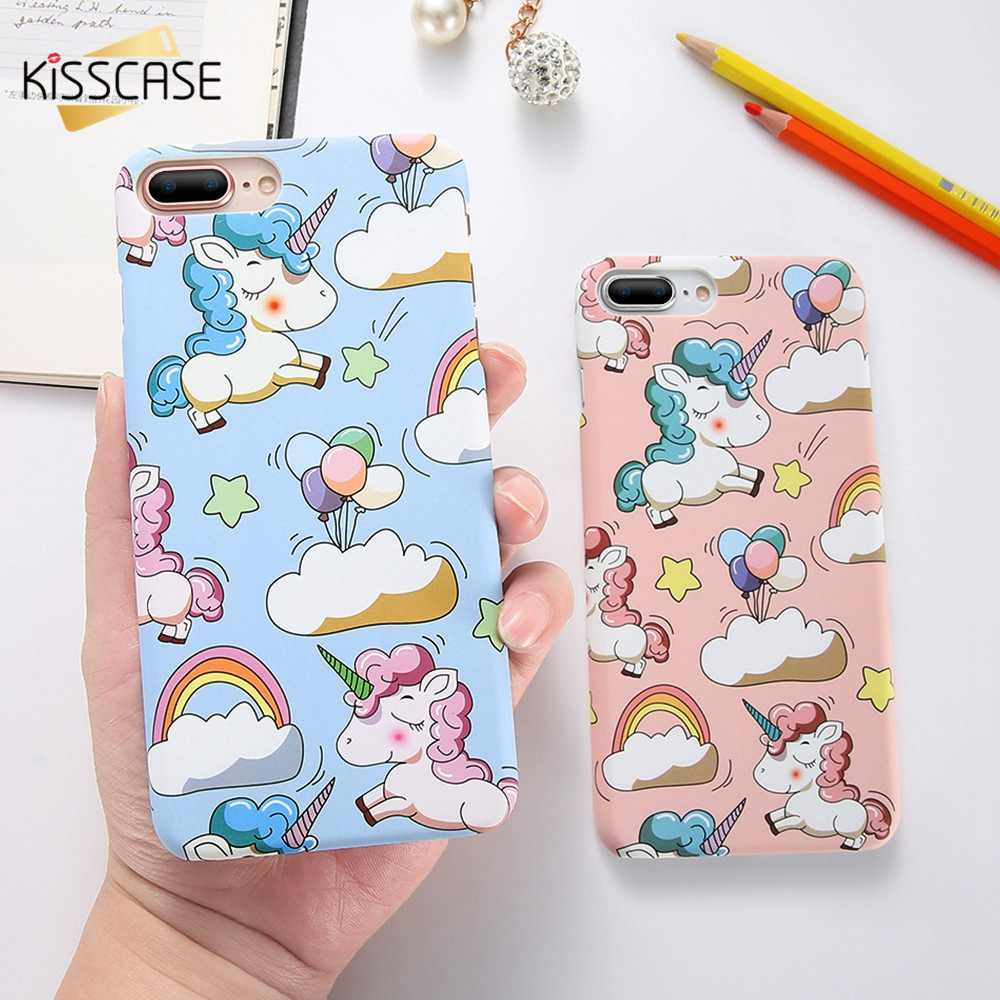 KISSCASE Unicorn Phone Case For iPhone 7 8 6S 6 Plus Cute Patterned Cases For iPhone X Xr Xs Max Hard PC Matte Back Cover Funda