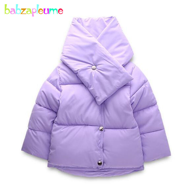 2PCS/2-6Years/Autumn Winter Baby Clothes Girls Boy Snowsuit Korean Fashion Down Jacket+Scarf Kids Coat Children Outerwear BC1283