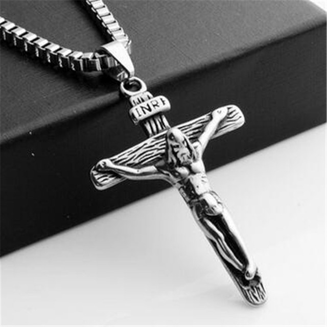 Vintage male stainless steel antique silver cross pendant necklace vintage male stainless steel antique silver cross pendant necklace charms jesus necklaces pendants choker men fashion aloadofball Image collections