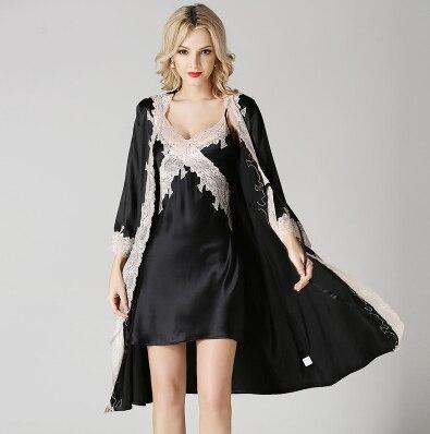 2cb33a54d Sexy Cardigan Satin Robes Womens Bathrobes Silk Pajamas ladies silk suit  Summer Style bridesmaid Robe Woman longo night gown