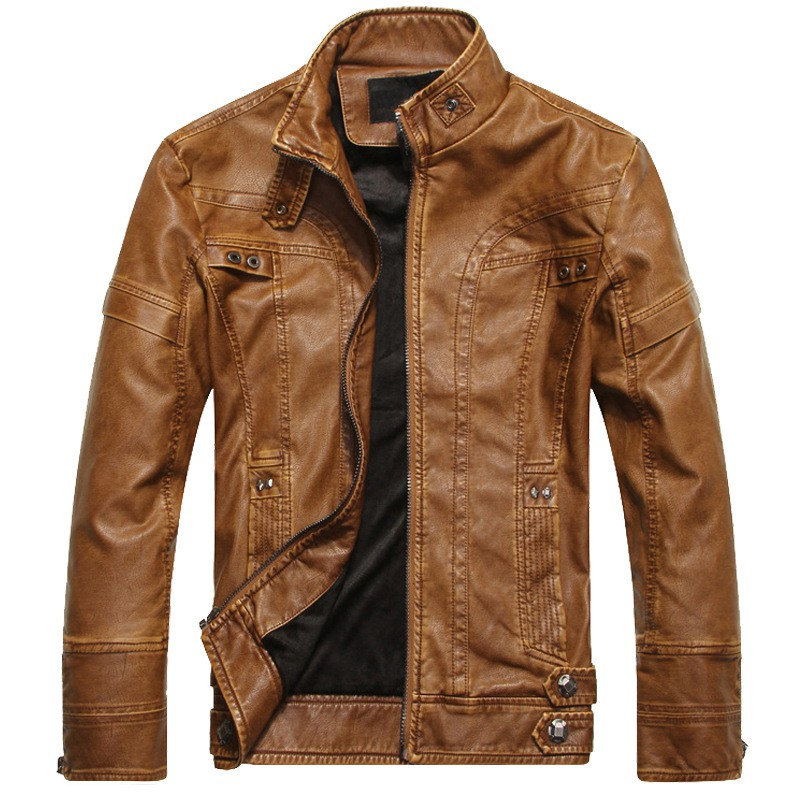 b 2019 Autumn Winter Motorcycle Leather Jackets Mens Coat Thick Faux PU Jacket Brand Clothing Male