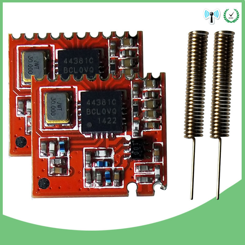 2pcs 433MHz RF Module 44638 Chip Long-Distance Communication Receiver And Transmitter SPI IOT And 2pcs 433 MHz Antenna